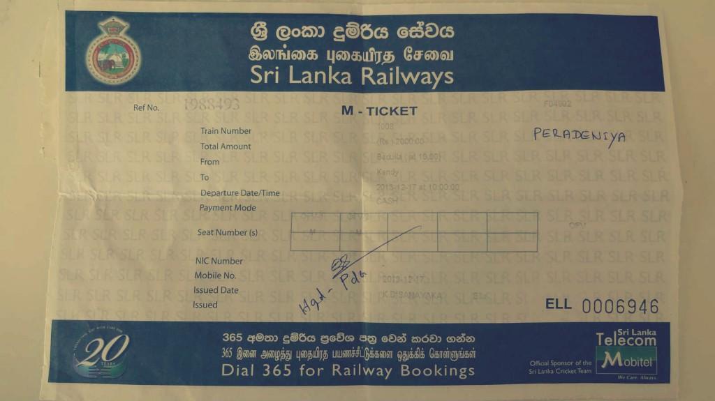 Het treinkaartje voor de reis van Ella naar Kandy - © Kirsten/Erick - travelaar.nl