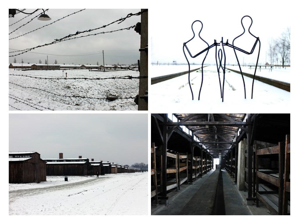 Auschwitz II - Birkenau. het grootste kamp met de houten barakken en rechtsboven het monument wat zich aan het einde van de spoorlijn bevind ter nagedachtenis aan alle slachtoffers.